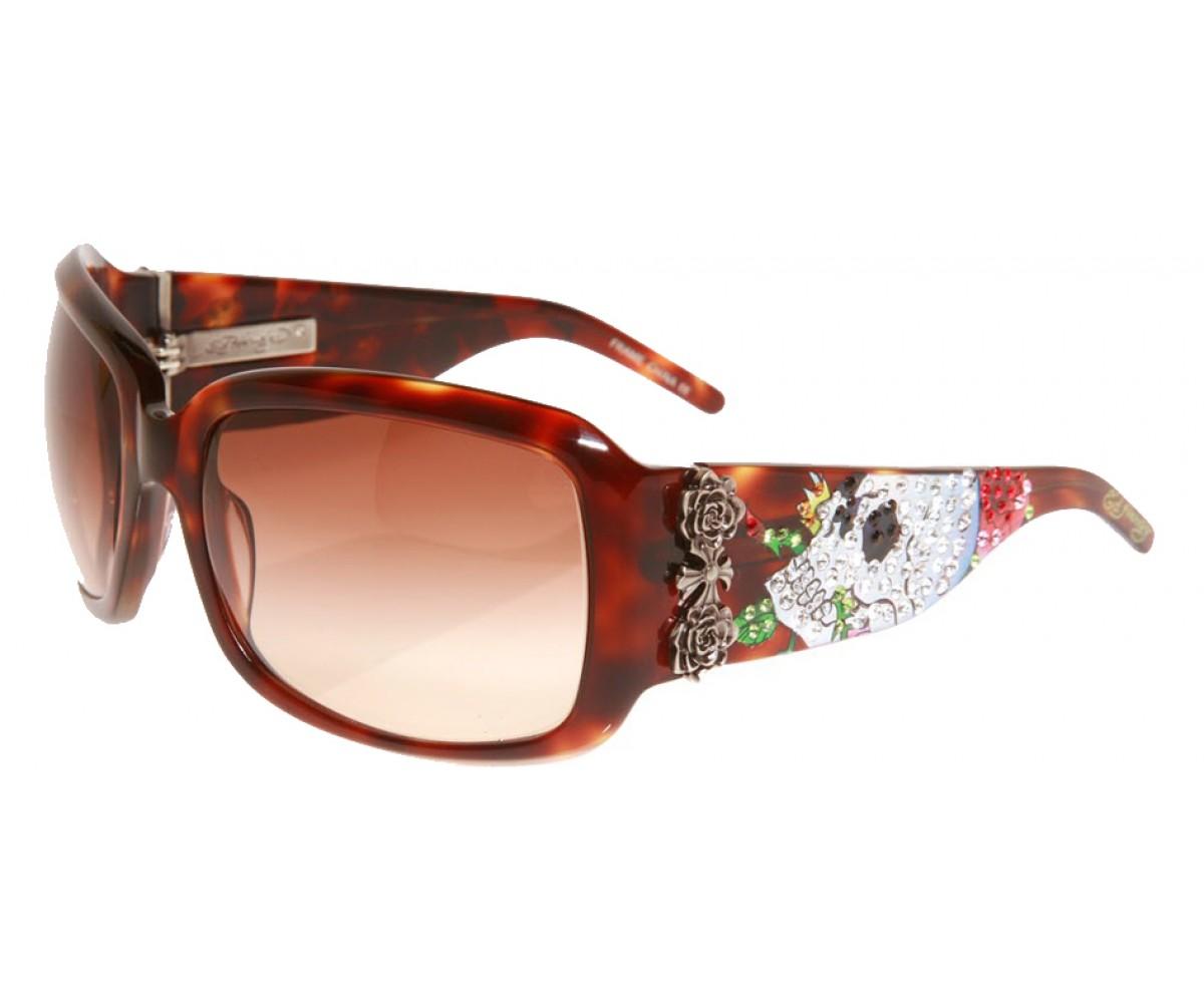 EHS-001 Skull & Roses Sunglasses - Tortoise/Brown