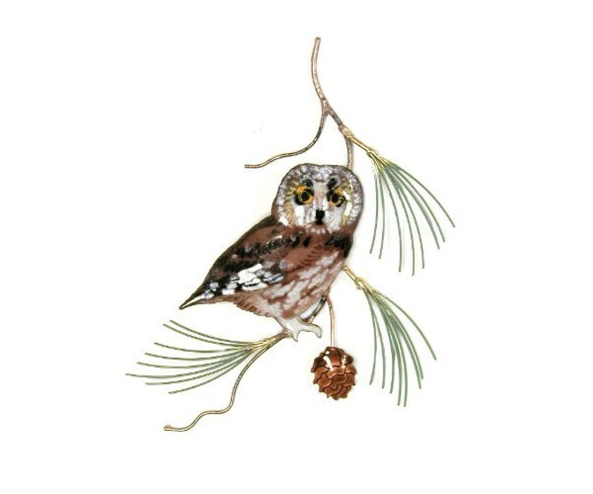 Bovano Enamel Wall Art Home Decor Saw Whet Owl On Pine