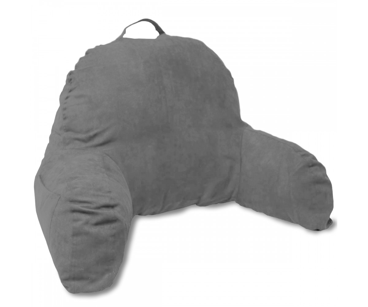 Deluxe Comfort Microsuede Bedrest Pillow Dark Grey -