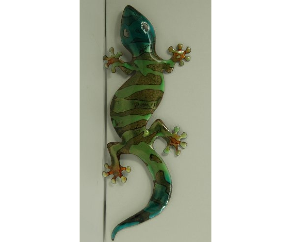 Bovano Enamel Wall Art Home Decor Large Green Gecko