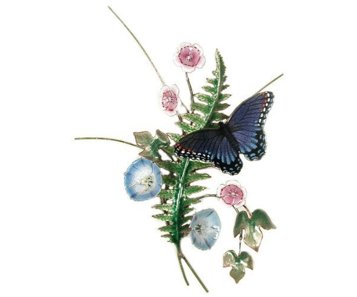 Bovano Enamel Home Wall Art Red Spot Butterfly & Fern
