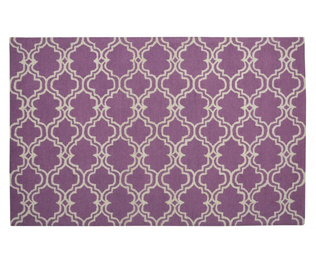 Moroccan Trellis Scroll Tile Radiant Orchid Purple Rug 5' X 8