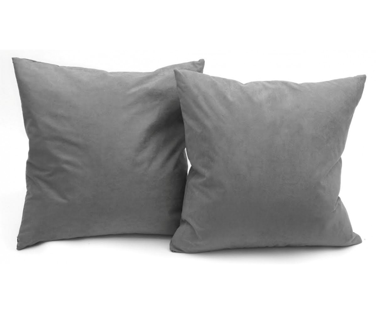 Microsuede Deco Pillow - 18x18 - Feather And Down Filled Pillows - Pack of 2 - Dark Grey
