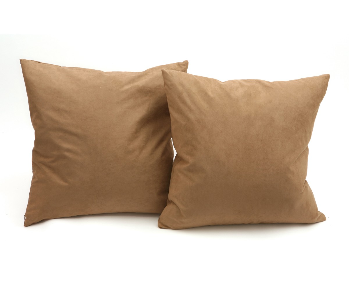 Soft Down Throw Pillows : Microsuede Deco Pillow - Taupe 18 Inches X 18 Inches Feather And Down Filled Pillows 2-Pack