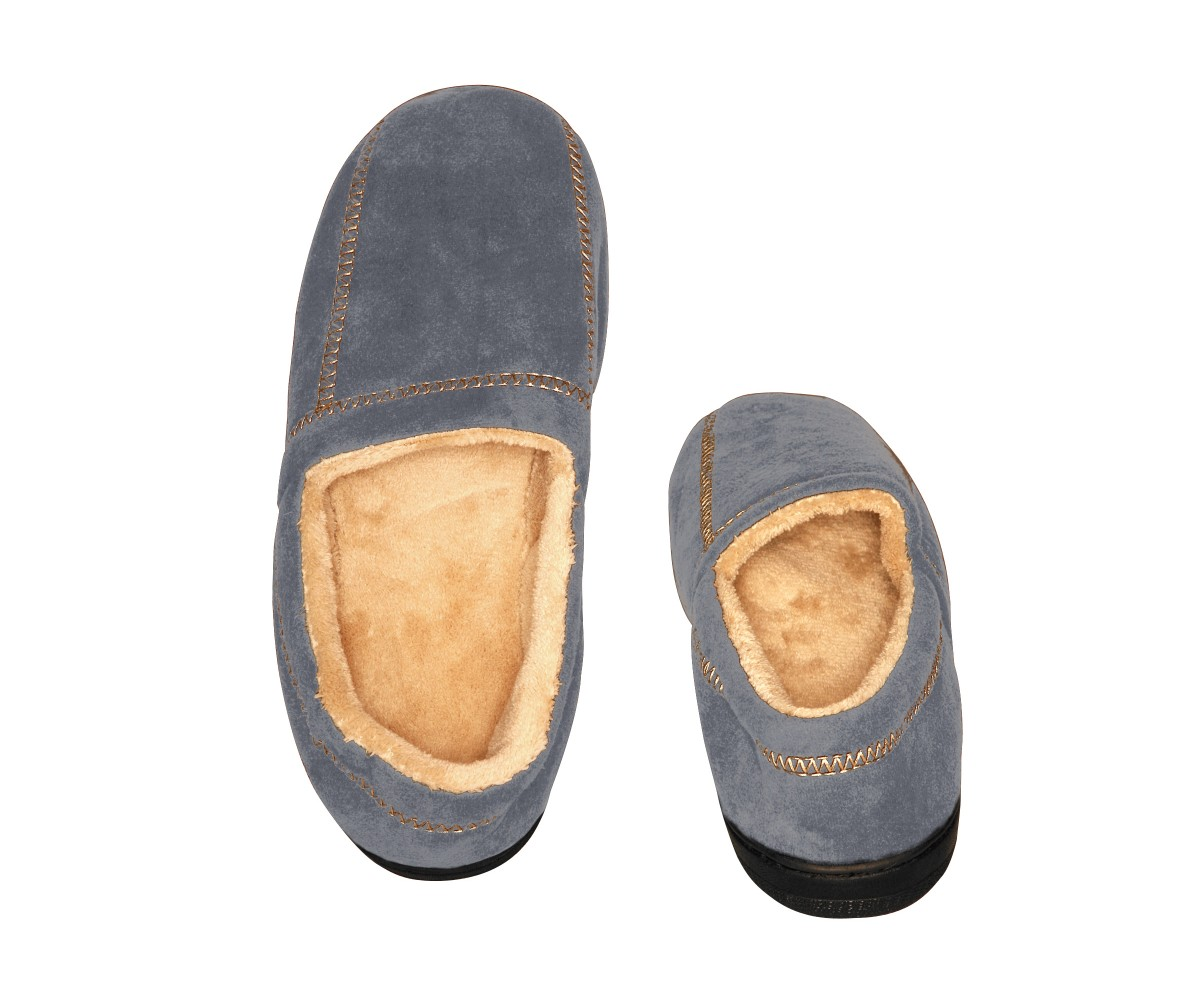 Men's Slipper Suede Fleece Grey