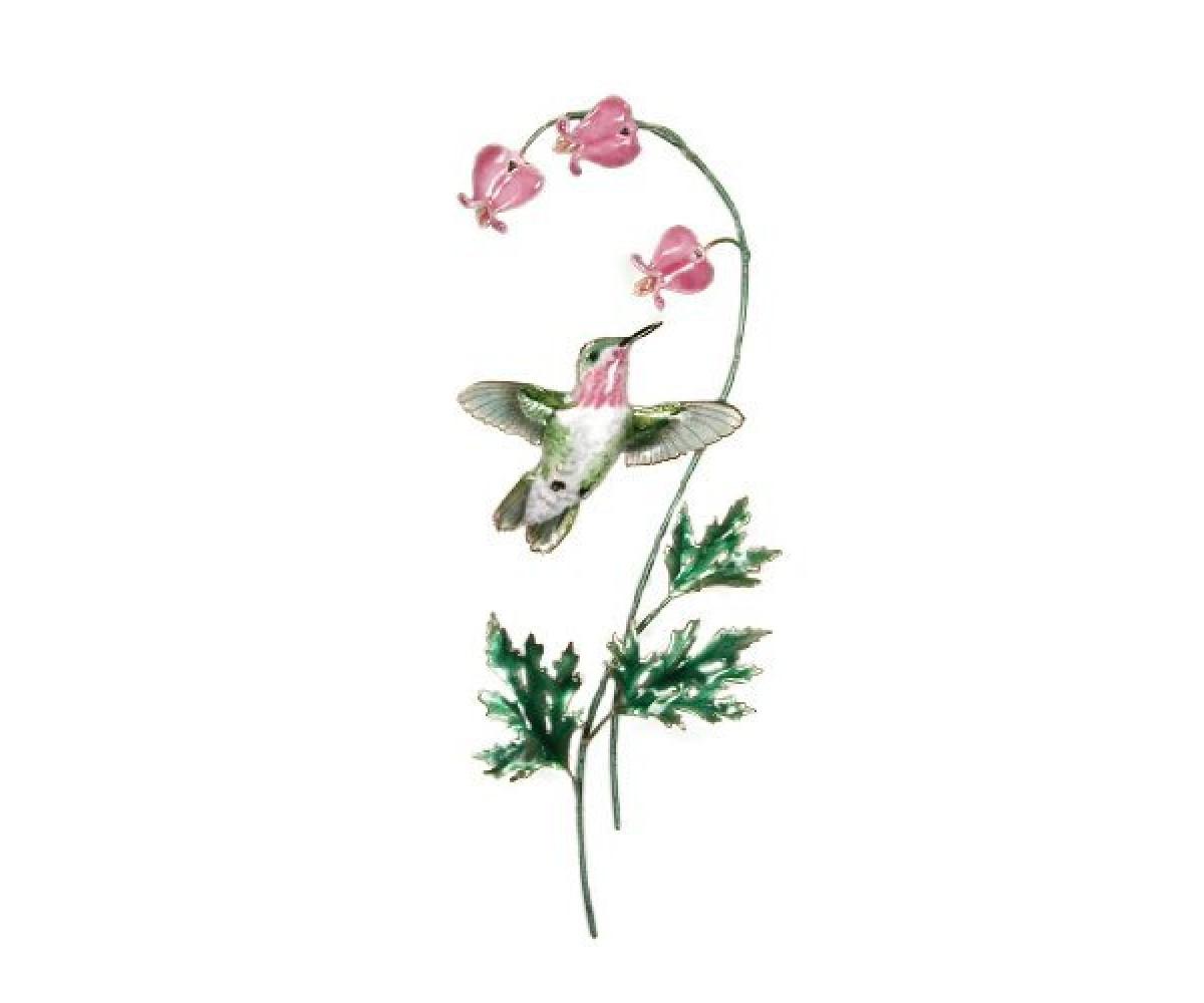 Bovano Enamel Wall Art Calliope Hummingbird Bleeding Heart Flower