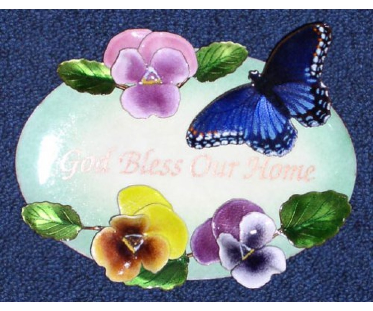 Wall Art Sculpture-red Spotted Purple Butterfly With Pansies