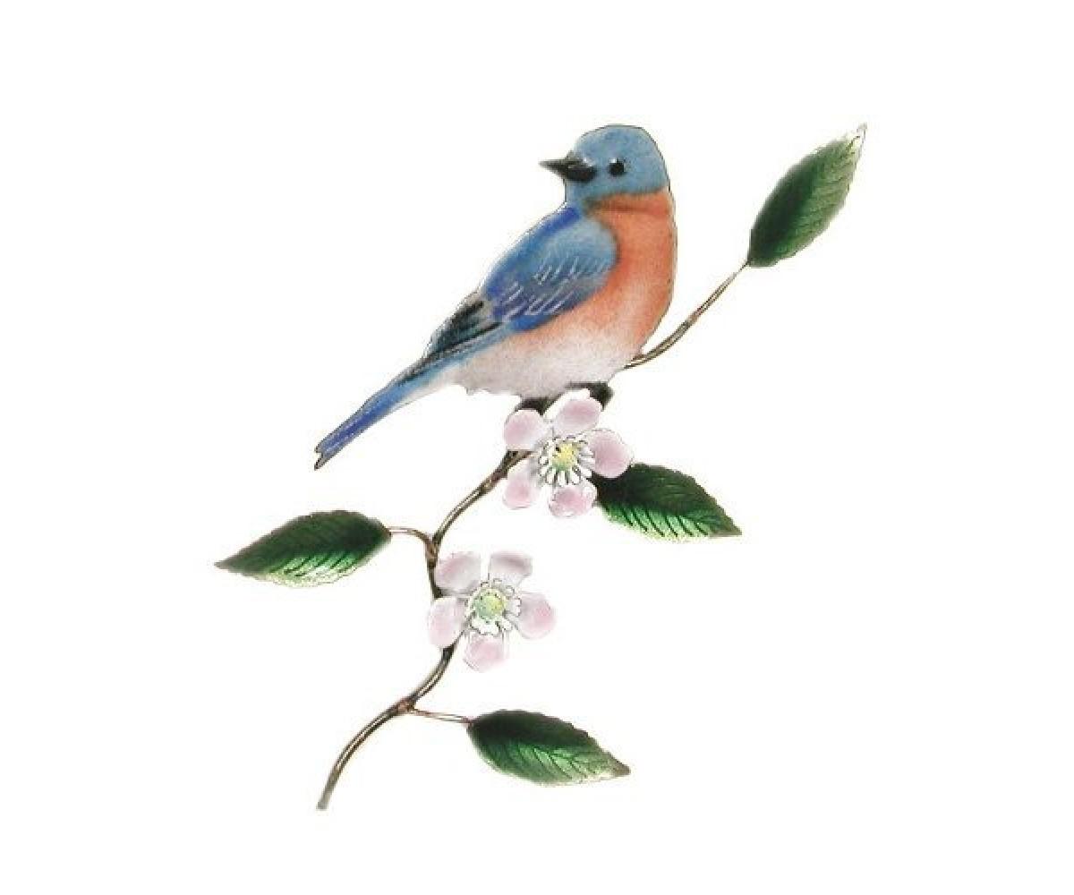 Bovano Enamel Wall Art Decor Bluebird Apple Blossom New