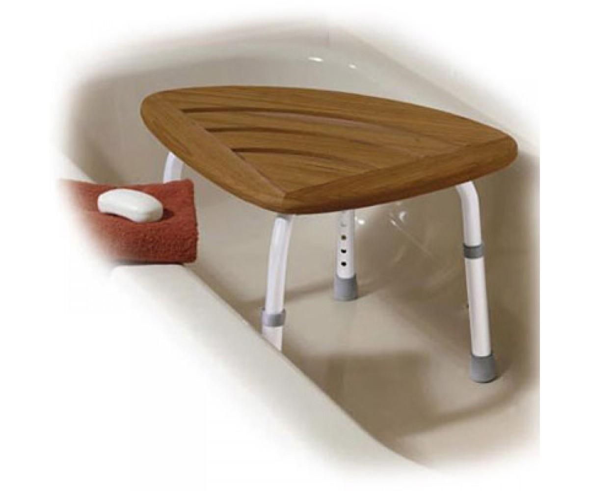 Teak Kd Adj Height Bath Stool