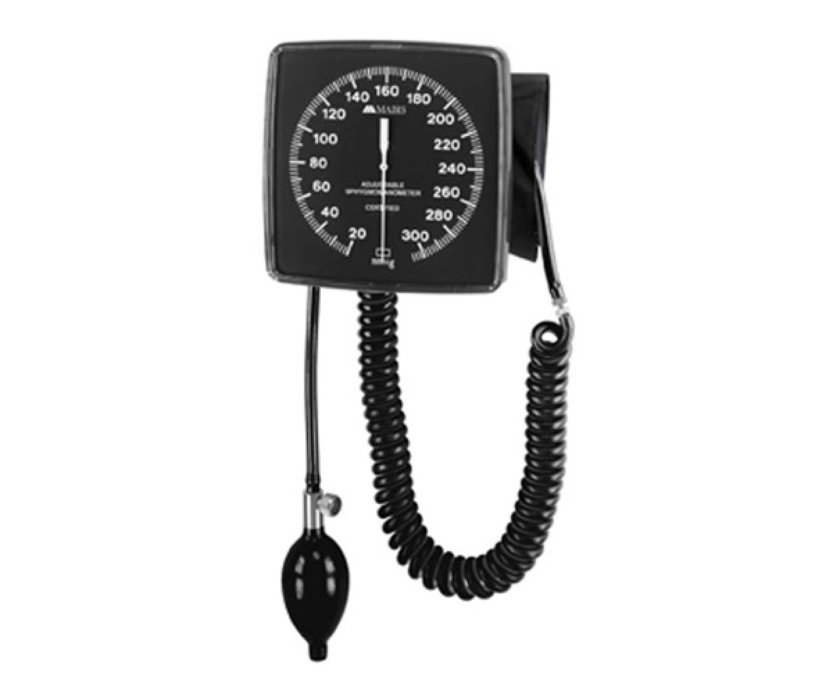 MABIS Legacy Latex-Free Adjustable Wall-Mounted Clock Aneroid Sphygmomanometer