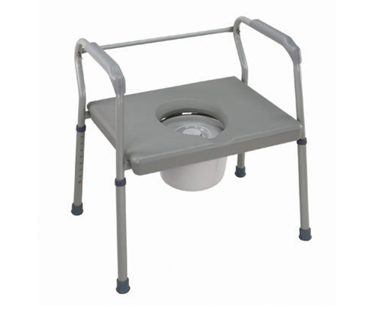 Heavy-Duty Steel Commode w/ Platform Seat