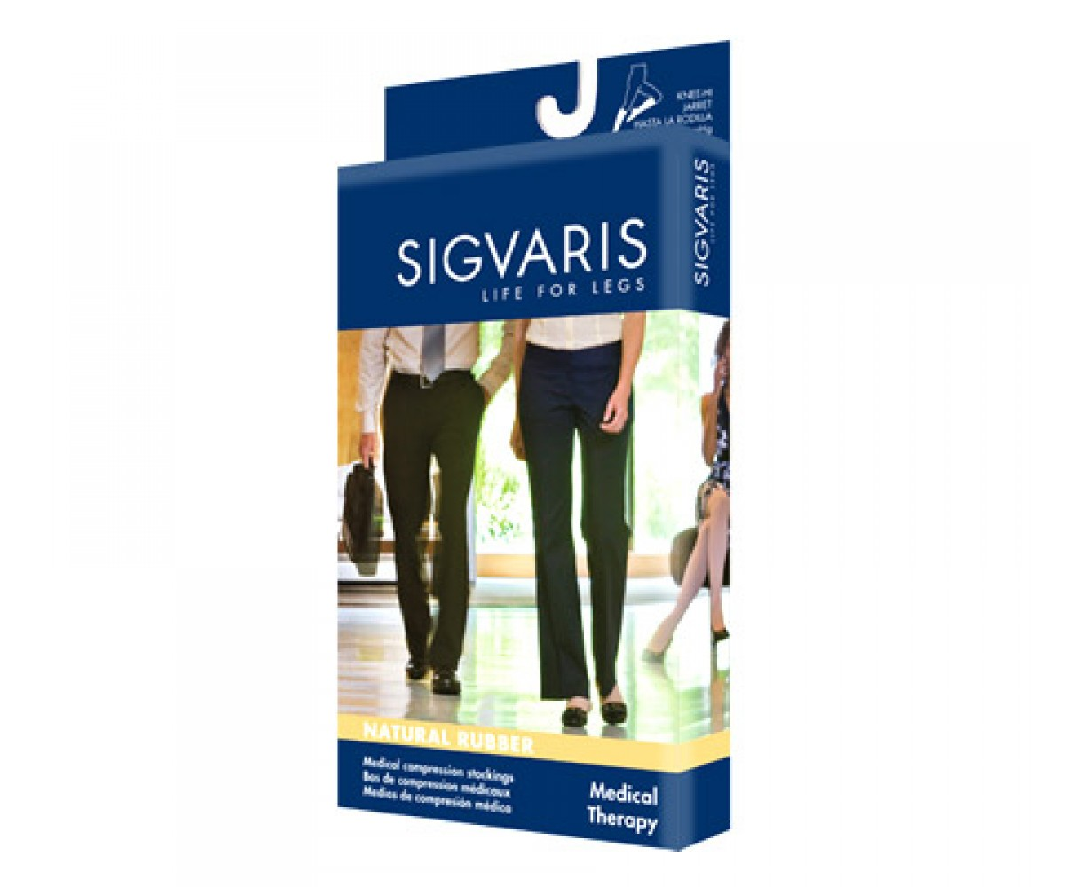 Sigvaris Natural Rubber Open Toe Unisex Thigh Highs With Grip Top
