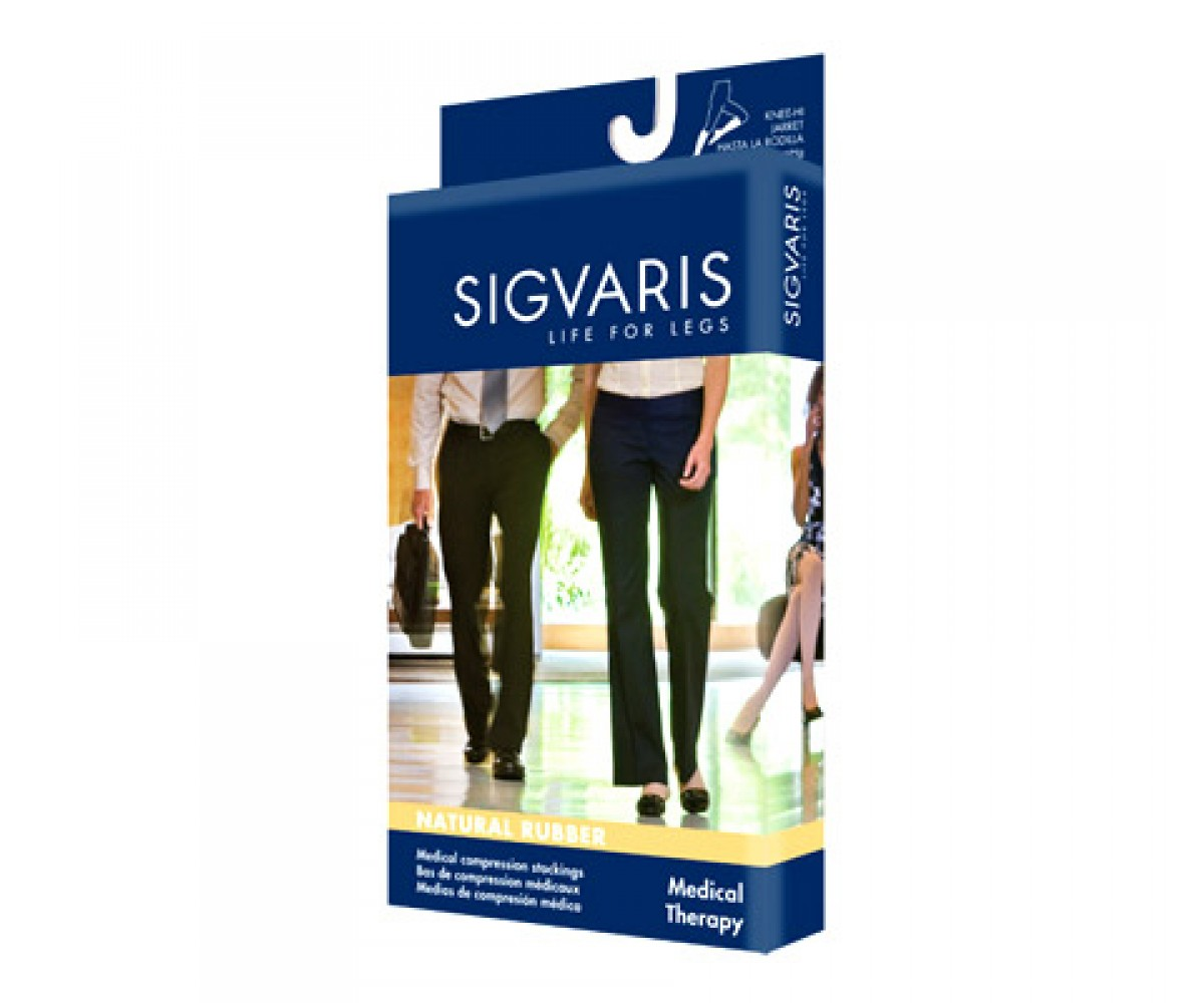 Sigvaris Natural Rubber Open Toe Unisex Thigh Highs No Grip Top