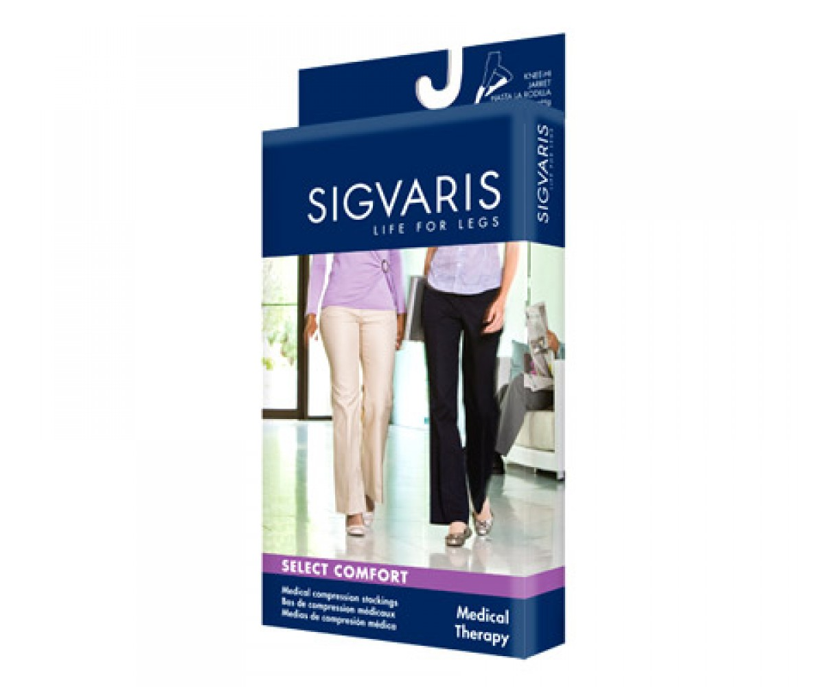 Sigvaris Select Comfort Series - Closed Toe Thigh Highs For Women, Black Mist - S1