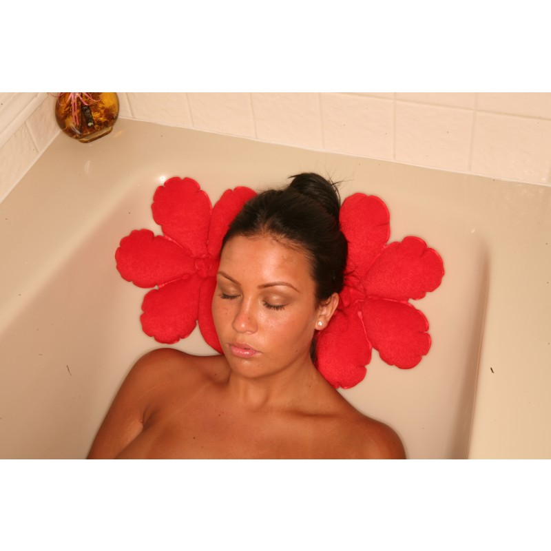 Inflatable Bath Cushion- Flower Red Terry Cloth