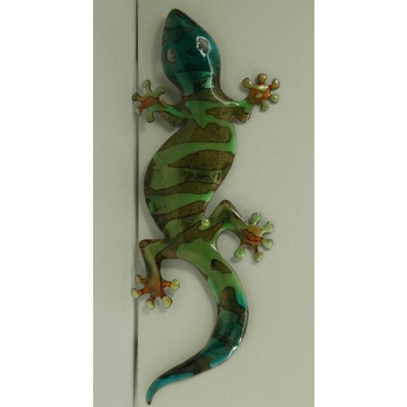 Bovano enamel wall art home decor large green gecko for Green wall art