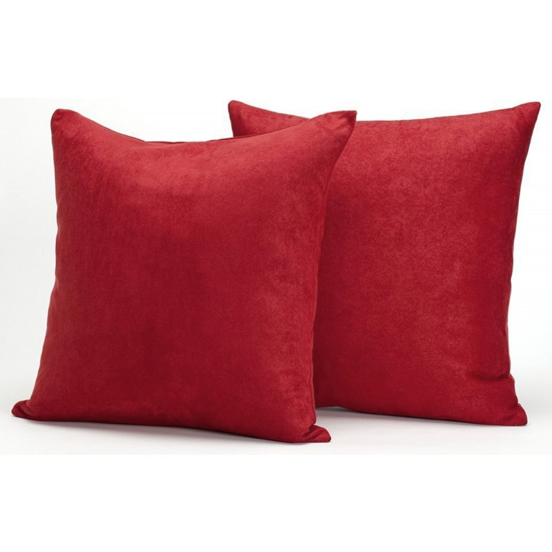 Down Throw Pillow Covers : Red Microsuede Couch Pillows / Sets of Two Throw Pillows, 18-Inch-by-18-Inch- Decorative Solid ...