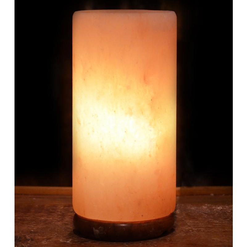 Natural Salt Lamp cylinder lamp include wooden base.- Himalayan Natural Crystal Salt Lamp with ...
