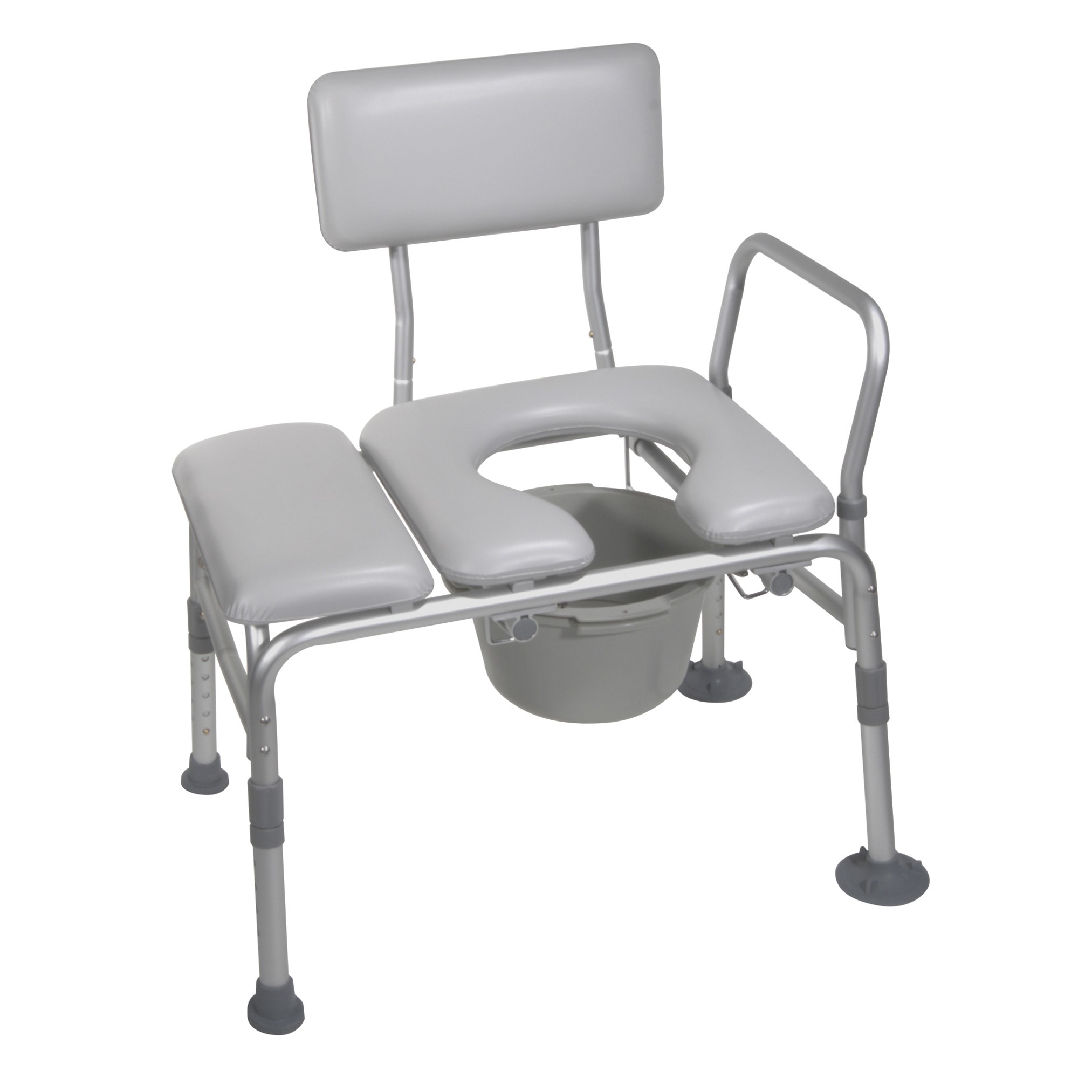 Padded seat transfer bench with commode opening Padded bench seat