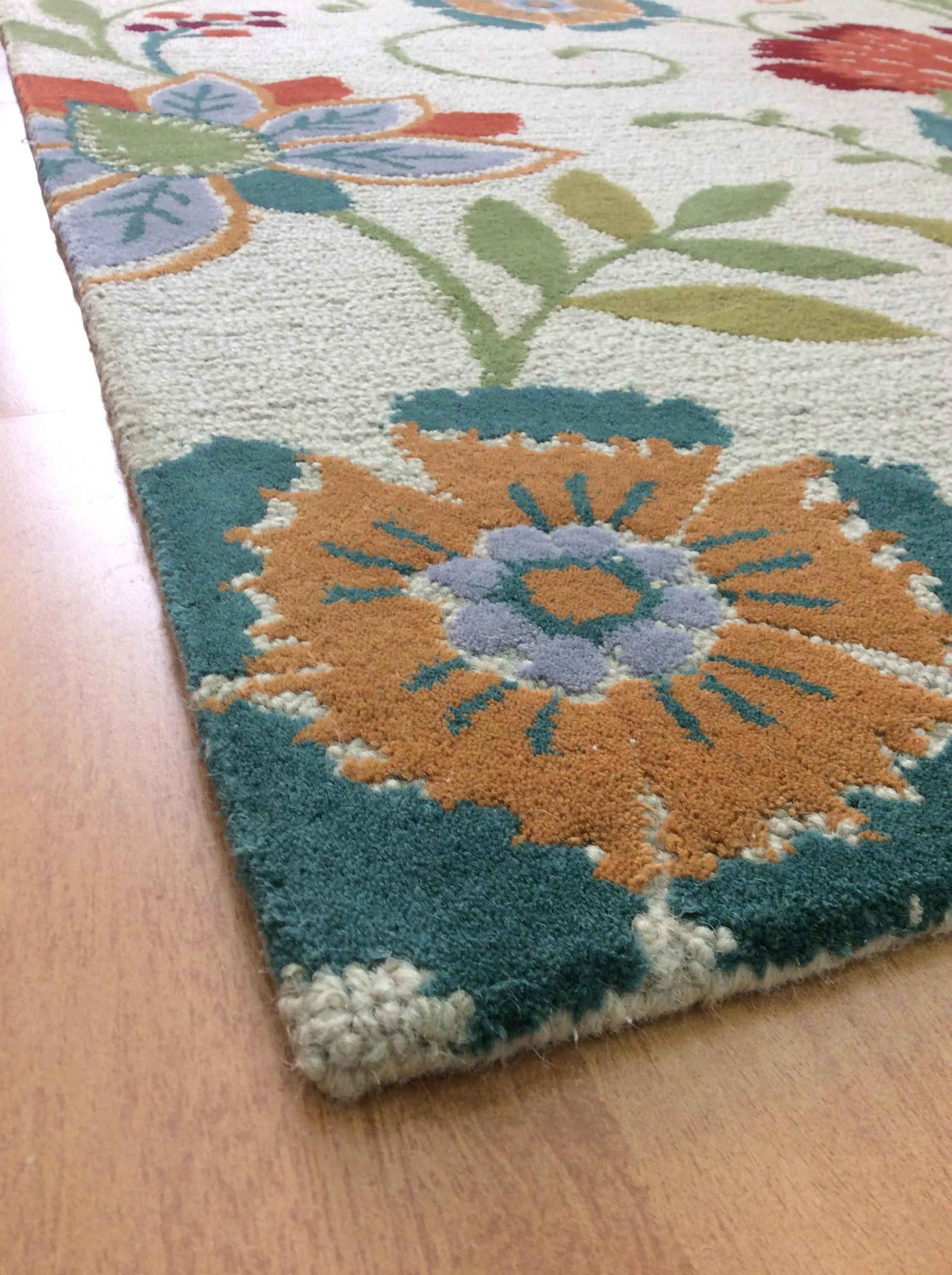 Handmade Wool Floral Beige Green 5x7 Lt1143 Area Rug