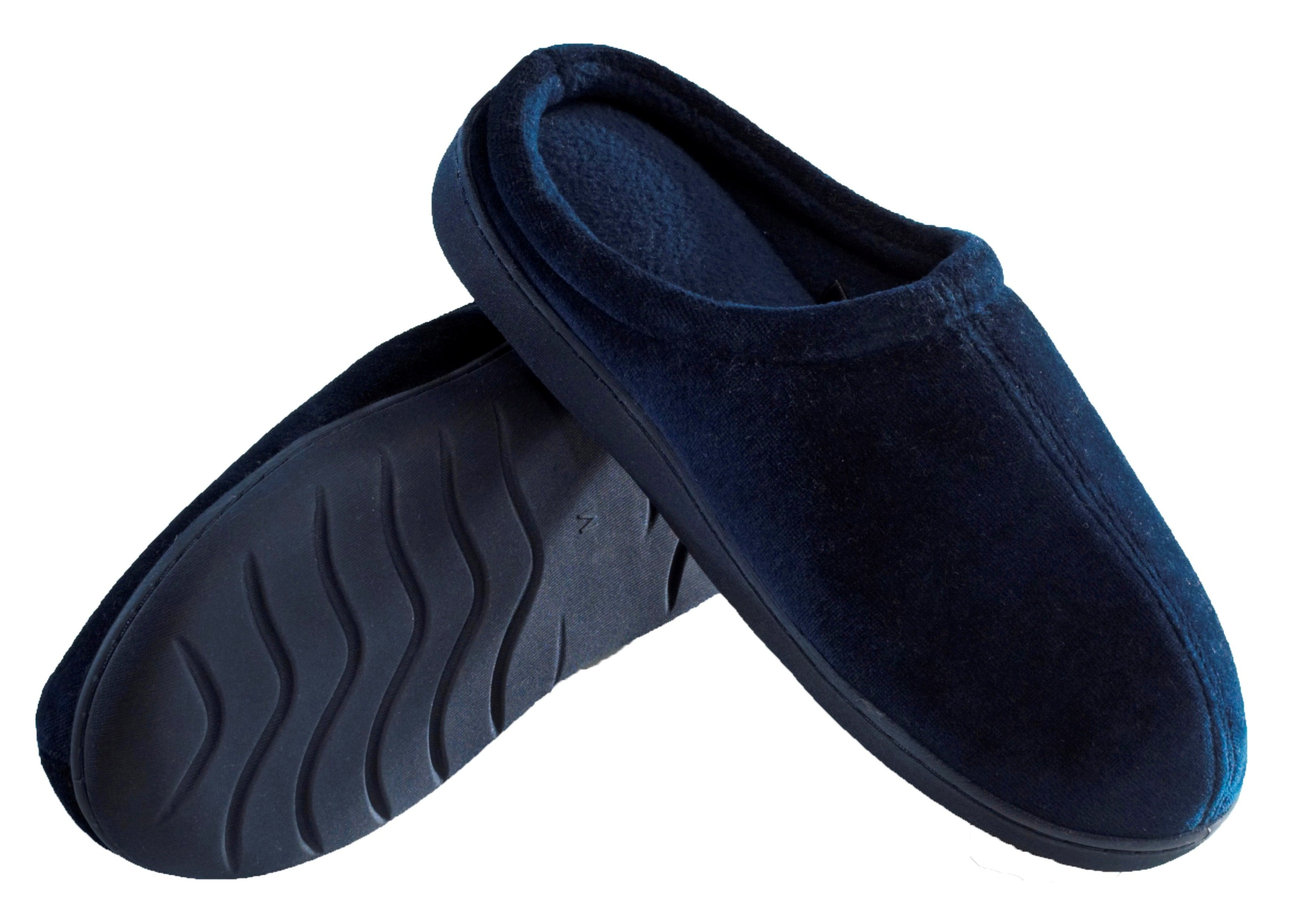 Mens Indoor/Outdoor Slip-On Memory Foam House Slippers X-Large - Durable Non-Marking Ruber Sole - Comfortable Foam Cushioning - Warm And Cozy - Mens Slippers Blue