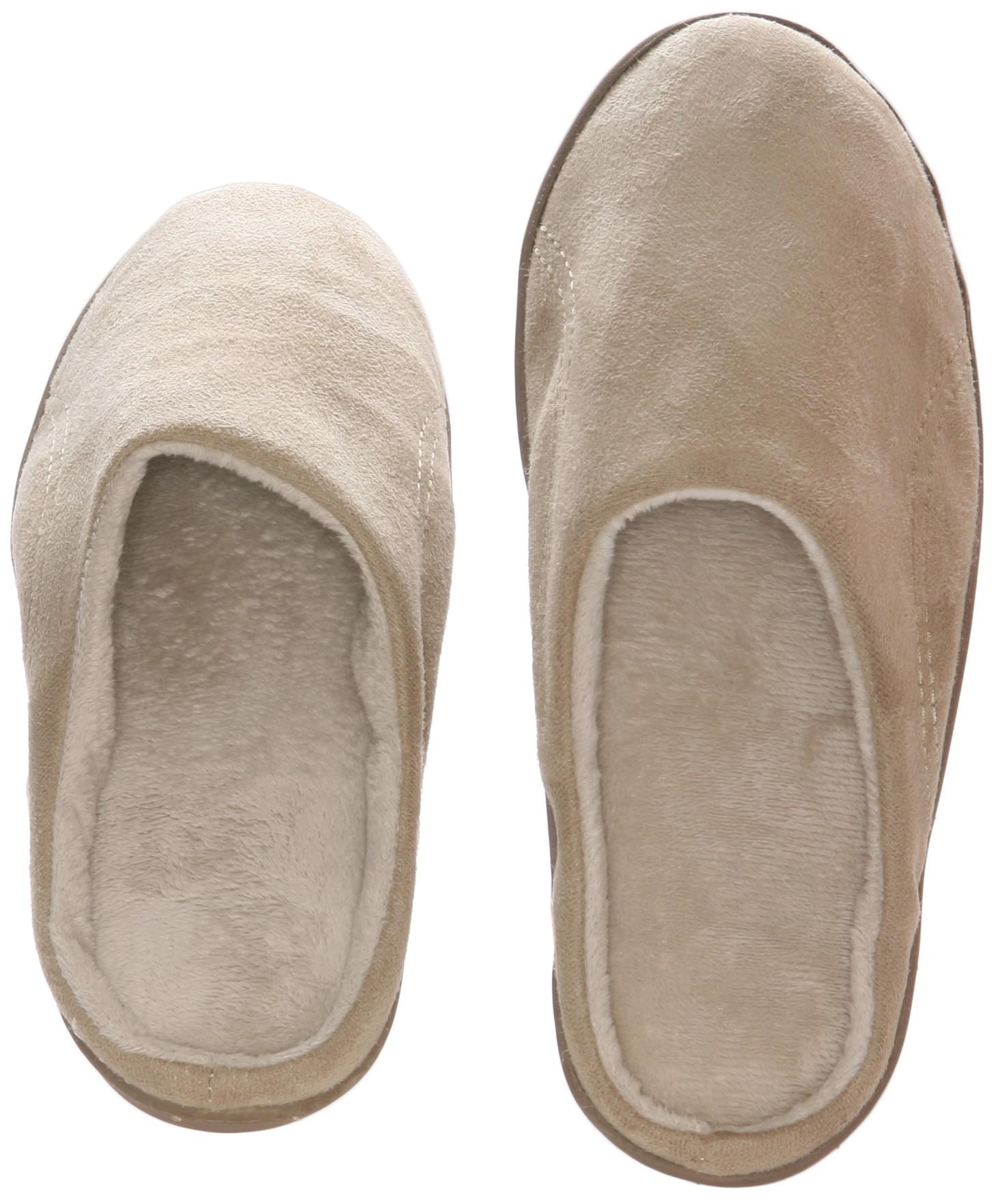 f99ed007564 Men s Memory foam Slippers - Beige Suede micro fleece slippers with ...