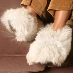 Deluxe Comfort Womens Alpaca Fur Slippers, Large - Luxurious - Super Warm - Great Gift - Womens Slippers, White