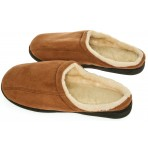 Mens Memory Foam Microsuede Slip-On House Slipper, Size 9-10 - Soft Wear Resistant Microsuede - Slip Resistant Durable Rubber Sole - Warm Cozy Wool Fleece Lining - Mens Slippers, Camel Brown