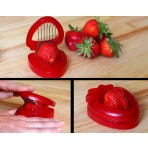 Deluxe Comfort Strawberry Slicer - 4 x 4 Inch Stainess Steel Blades - One Motion - Easy To Clean - Slicer