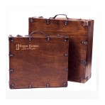 Antique Wood Suitcase Box