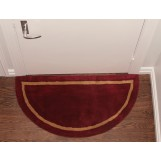 "Deluxe Comfort Henley Wool Semicircle Foyer Rug, 44"" Diameter - High Quality Long Lasting - Hand-Tufted Half Circle Rug - Durable Easy To Clean - Area Rug, Brick Red"
