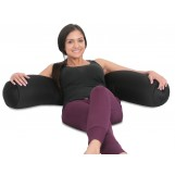 "Deluxe Comfort Microbead Body Pillow, 47"" x 7"" - Mooshi Squishy Soft - Prenatal Pregnancy Pillow - Full Body Side Sleeper - Body Pillow, Black"