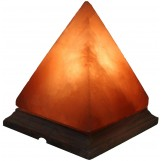 "Himalayan Rock Salt Pyramid Lamp, 8 Inches Tall - Soft Calm Therapeutic Light - Handcrafted Crystal Pyramid Design 7"" x 7"" Finished Wood Base -"