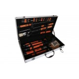 Pushette Professional 18 Piece Stainless Steel Barbecue Grill Set - Comercial Grade Aluminum Carrying Case - Patented Pushette Magnetic BBQ Skewers - Heat Guard Handles - Barbecue Tool Set, Aluminum