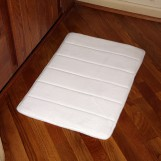 "Deluxe Comfort Microfiber Bathroom Mat, 24"" x 17"" - Memory Foam - Microfiber Absorbing - SBR Non-Skid Backing - Bath Mat, White"
