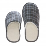 Deluxe Comfort Tartan Plaid Mens Memory Foam Slip-On House Slipper, Size 11-12 - Warm Cozy Wool Fleece Lining - Slip Resistant Durable Rubber Sole - Classic Checkered Plaid - Mens Slippers, Blue
