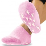 Deluxe Comfort Womens Terry Gel-Lined Moisturizing Booties, One Size - Infused With Essential Oils - Gel Lining - Non-Slip Comfort Grips - Socks, Pink