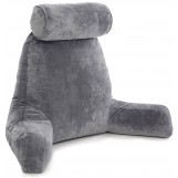 Husband Pillow Bedrest Reading & Support Bed Backrest With Arms Dark Grey - Shredded Foam Reading Pillow - Bed Rest Pillow Makes A Comfy And Therapeutic Cuddle Buddy Any Time You Need One