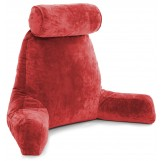 Husband Pillow Bedrest Reading & Support Bed Backrest With Arms Red - Shredded Foam Reading Pillow - Bed Rest Pillow Makes A Comfy And Therapeutic Cuddle Buddy Any Time You Need One