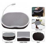"""Portable Lap Desk With LED Lamp, 18"""" x 15"""" - Handy Zippered Storage For Laptop Computer - Adjustable LED Work Light - Light Weight Travel Workstation"""