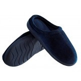 Deluxe Comfort Mens Indoor/Outdoor Slip-On Memory Foam House Slippers, X-Large - Durable Non-Marking Ruber Sole - Comfortable Foam Cushioning - Warm And Cozy - Mens Slippers, Blue