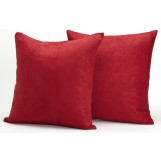 "Deluxe Comfort Microsuede Throw Pillows, 18"" x 18"" - Down Feather Filled - Decorative Colors - Soft Microsuede Cover - Throw Pillow, Red - Pack of 2"