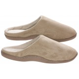 Mens Indoor/Outdoor Slip-On Microsuede Memory Foam House Slippers, Size 9-10 - Double Side Stiched Microsuede Exterior - Comfy Plush Micro Fleece Lining - Durable Non-Marking Ruber Sole - , Beige