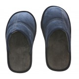 Deluxe Comfort Mens Slip-On Memory Foam Deck Slipper, Size 9-10 - Comfy Plush Micro Fleece Lining - Durable Non-Marking Ruber Sole - Wear Resistant Microsuede - Mens Slippers, Navy Blue