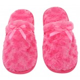 Womens Fuzzy Fleece Slip-On Memory Foam House Slippers, Size 5-6 - Warm Fluffy Fleece  - Cute Teen Pajama Accessory - Soft, Gripping Non-Slip Durable Rubber Sole - Womens Slippers, Hot Pink