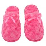 Womens Fuzzy Fleece Slip-On Memory Foam House Slippers, Size 7-8 - Warm Fluffy Fleece  - Cute Teen Pajama Accessory - Soft, Gripping Non-Slip Durable Rubber Sole - Womens Slippers, Hot Pink
