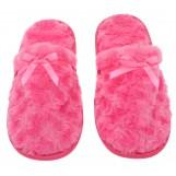Womens Fuzzy Fleece Slip-On Memory Foam House Slippers, Size 9-10 - Warm Fluffy Fleece  - Cute Teen Pajama Accessory - Soft, Gripping Non-Slip Durable Rubber Sole - Womens Slippers, Hot Pink