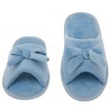 Womens Butterfly Bow Slip-On Memory Foam House Slippers, Size 9-10 - Open Toe - Pamper Your Feet With Cozy Fleece Memory Foam - Durable Non-Marking Ruber Sole - Womens Slippers, Baby Blue