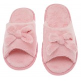 Deluxe Comfort Womens Butterfly Bow Slip-On Memory Foam House Slippers, Size 9-10 - Open Toe - Pamper Your Feet With Cozy Fleece Memory Foam - Durable Non-Marking Ruber Sole - Womens Slippers, Pink