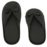 Deluxe Comfort Cotton Poka Dot Womens Open Toe Flip-Flops, Size 5-6 - Be Hip While Staying Comfy - Cute Classic Butterfly Bow - Soft, Gripping Non-Slip Durable Rubber Sole - Womens Slippers, Black